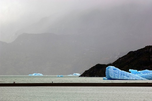 Stock Photo: 1597-120329 icebergs, Lago Grey, lake, mood, water, scenery, Parque Nacional, national park, Torres del Paine, Magallanes, Patagon