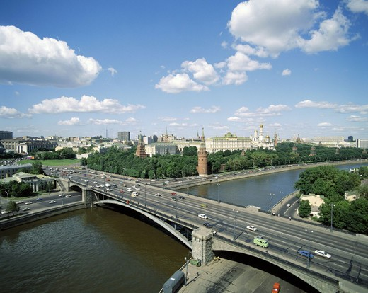 Stock Photo: 1597-120497  river, flow, Kremlin, Moscow, Moskva, Russia, ships, overview,