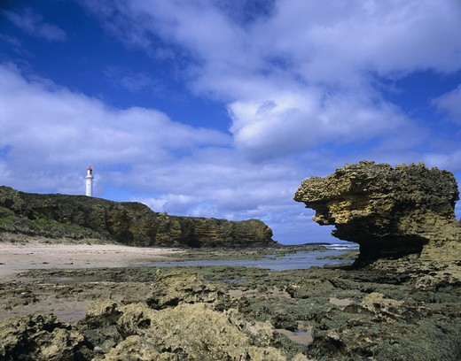 Stock Photo: 1597-120609 Aireys Inlet, Australia, beach, coast, Great Ocean Road, lighthouse, rock, sea, seashore, Victoria