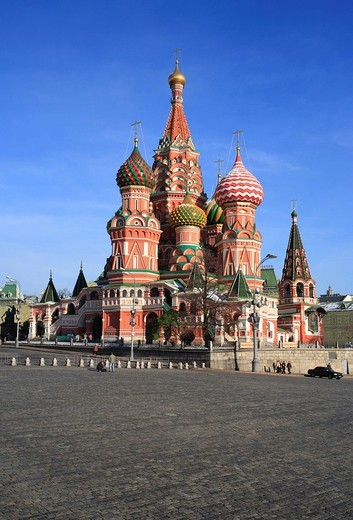 Stock Photo: 1597-120809 St. Basil cathedral, Moscow, Russia, Russian, Architecture, Building, Moscow, Red square, Kremlin, cathedral, blue sky