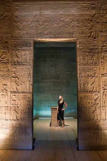 Stock Photo: 1597-121496 Tourists in Temple of Isis on Philae Island, Aswan, Egypt