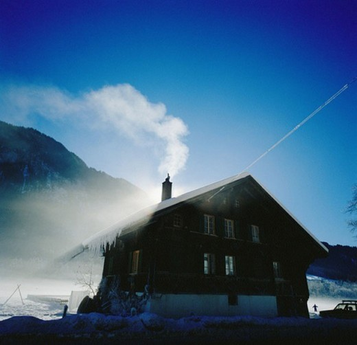 house, home, winter, heating, winter, smoke, cold, Switzerland, : Stock Photo