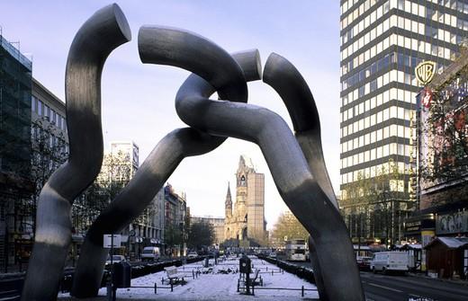 Stock Photo: 1597-122182  Germany, Europe, Berlin, landmark, Tauentzienstrasse, emperor´s Wilhelm Gedächtnis, church, sculpture,