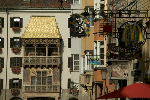 Stock Photo: 1597-122424 architecture, Austria, Europe, bay, Golden Roof, home, house, Innsbruck, Late Gothic, old town, splendor, town, Tiro