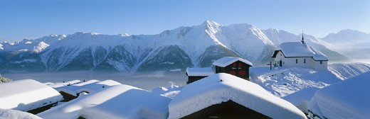 Stock Photo: 1597-122799 10645019, evening light, mountains, Bettmeralp, houses, homes, chapel, panorama, Switzerland, Europe, snow_covered, snow, Vala