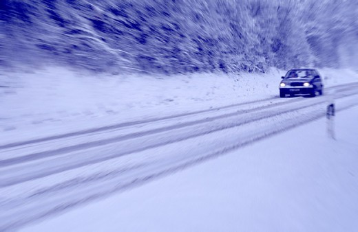 security, hedging, car, automobile, ice, danger, threat, dangerously, black ice, season, country road, street, slowl : Stock Photo