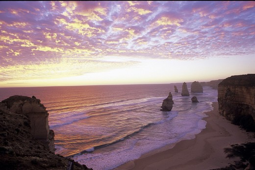 Australia, cliffs, coast, dusk, erosion, mood, rocks, scenery, landscape, sea, Twelve Apostles, Twelve apostles, twi : Stock Photo