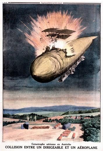 Le Petit Journal, magazine, cover, 1914, World War I, WW1, aeroplane, balloon, airforce, fight, Collision, illustratio : Stock Photo