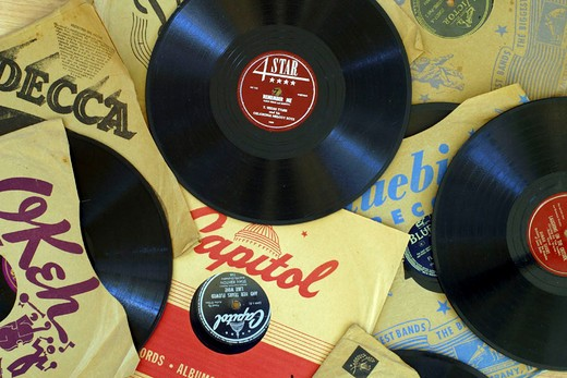 78 RPM, record, music, entertainment, old, retro : Stock Photo