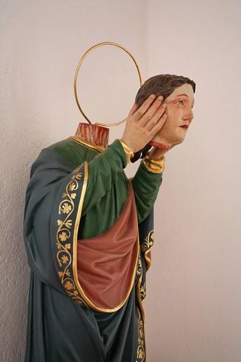 Switzerland, Europe, Holy Regula, town, Gommiswald, Uetliburg hamlet, Felix and regula chapel, Martyr, head, hands, Be : Stock Photo