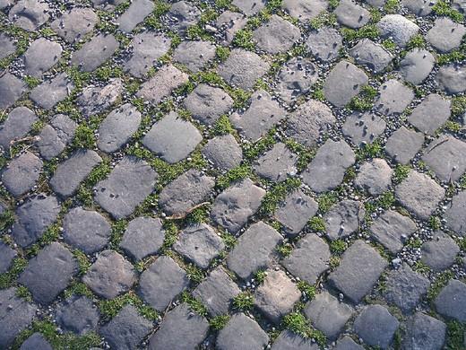 Stock Photo: 1597-124741 bottom, Cobblestones, ground, moss, paving stones, structure