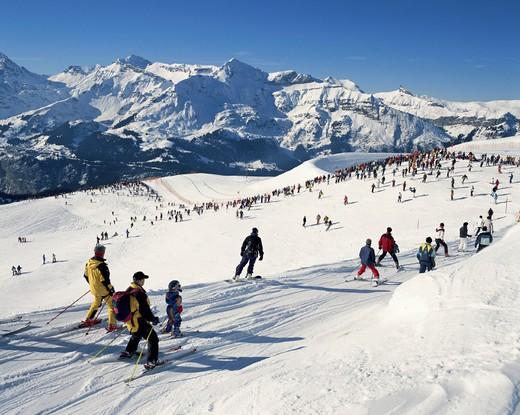 Stock Photo: 1597-125169  canton Bern, Lauberhorn, race, crowd of people, Switzerland, Europe, ski alpine, skier, skiing area, spectator,
