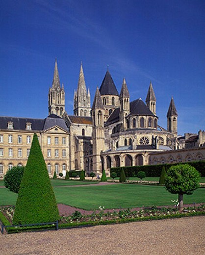 Calvados, building, Caen, cathedral, city, city hall, construction, France, Europe, hotel de Ville, Normandy, park, : Stock Photo