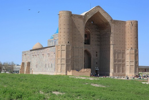 Stock Photo: 1597-126287 Kazakhstan, Mausoleum of Khoja Ahmed Yasawi, Turkestan, Central Asia, Islam, Islamic, Muslim, blue sky, architecture,
