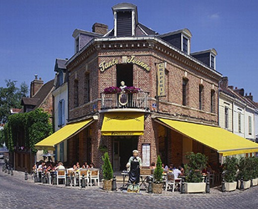 accommodation, Amiens, brick, brick building, company, France, Europe, guests, outside, Picardy, restaurant, Saint L : Stock Photo