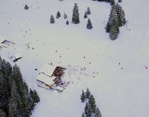 Stock Photo: 1597-126725  winter, skiing area, Zweisimmen, Switzerland, Europe, canton Bern, gondola, bubble lift, cableway, mountain restaurant