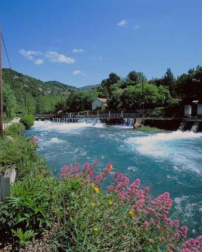 France, Europe, Provence, Fontaine de Vaucluse, river, flow, penstock, luxuriant scenery, : Stock Photo