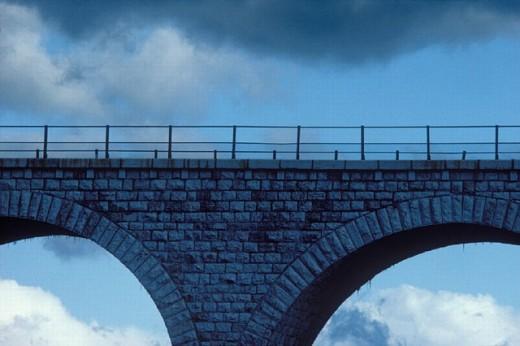 architecture, bridge, building, civil engineering works, detail, sky, stone bridge, : Stock Photo