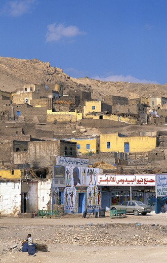 Egypt, North Africa, near Valley of Kinds, Luxor, village, poverty : Stock Photo