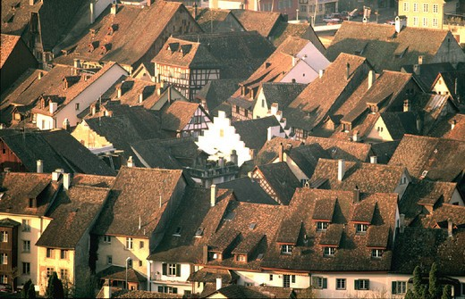 Old Town, roofs, canton Schaffhausen, Switzerland, Europe, Stein am Rhein, Switzerland, Europe, overview, : Stock Photo