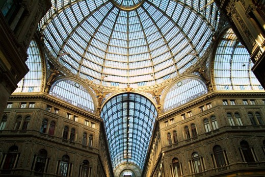 architecture, building, Campagna, construction, dome, Galleria Umberto 1, glass, glassware, Italy, Europe, Naples, r : Stock Photo