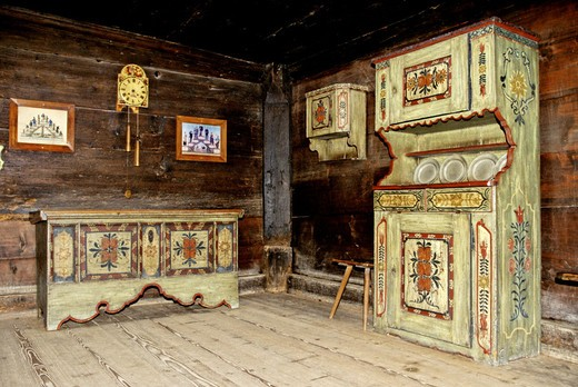 Stock Photo: 1597-128302 sitting room, piece furniture, farm piece furniture, paints, equipment, institution, wood, open_air museum, steward fa