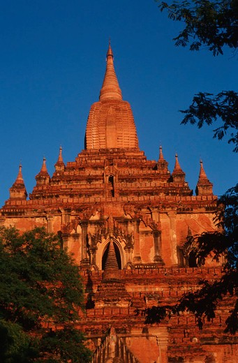 Stock Photo: 1597-128492 shwesanda pagoda, Bagan, Pagan, UNESCO, world cultural heritage, Myanmar, Burma, South_East Asia, Asia