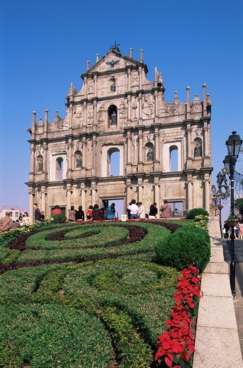 Stock Photo: 1597-128513 China, Asia, Macau, Macao, St Pauls Church, Sao Paulo Church, Church, Cathedral, Catholic, Religion, Architecture, Fac