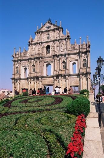 China, Asia, Macau, Macao, St Pauls Church, Sao Paulo Church, Church, Cathedral, Catholic, Religion, Architecture, Fac : Stock Photo