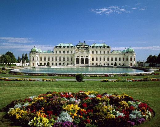 Stock Photo: 1597-128829  view, flowers, upper Belvedere, Austria, Europe, park, castle, Vienna,