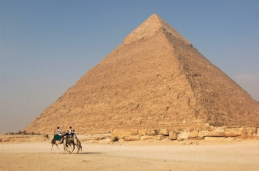 pyramids, Gizeh, Chephren pyramid, camels, camel riders, Cairo, Egypt, North Africa, : Stock Photo