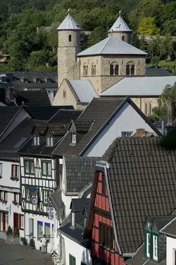 city, framework, Germany, Europe, homes, houses, Bad Munstereifel, North, old town, Rhine Westphalia, town, : Stock Photo