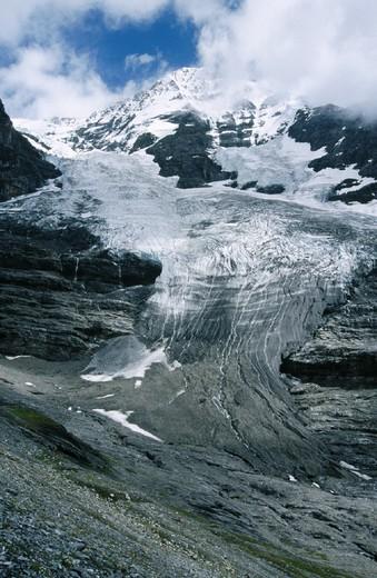 Stock Photo: 1597-130321 10643809, canton scenery, Alps, Bern, ice, glacier, glacier tongue, Jungfrau glacier, dirtily, Switzerland, Europe,