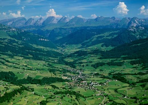 Switzerland, Europe, canton St. Gallen, Neu Saint Johann, Toggenburg, Churfirsten, mountains, scenery, landscape, aeri : Stock Photo