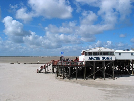 Stock Photo: 1597-130772 beach, building on stilts, clouds, coast, ebb, tide, flood, Germany, Europe, home, house, low, mud flats, North Fris