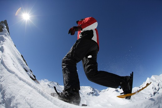 Stock Photo: 1597-131551 Alps, Austria, Europe, Grossglockner, hiking, man, model, mountains, running, shoe, shoes, snow, Snow, sports, winte