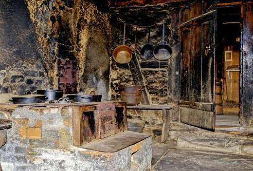 kitchen, cuisine, stove, oven, chimney, fireplace, oven, cooker, stove, cooking, open_air museum, steward farm, Gutach : Stock Photo