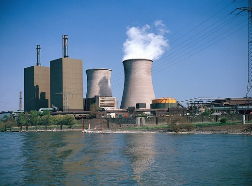 Stock Photo: 1597-131629  energy, coal_fired power stations, Ruhr area, Rhine, river, flow, Germany, Europe, coal, dough, power station, industr
