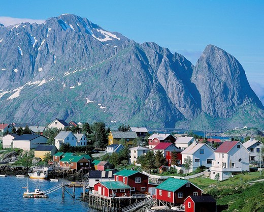Stock Photo: 1597-132108  Norway, Europe, Lofoten, pure, clean, bay, village, timber houses, mountains,
