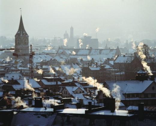 Stock Photo: 1597-132173 10109851, Air pollution smoke, Environment, Heatin