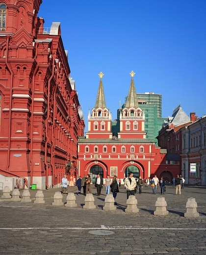 Russia, Moscow, Red square, Russian, Architecture, Building, Kremlin, State History museum, Chapel, blue sky, tourist, : Stock Photo