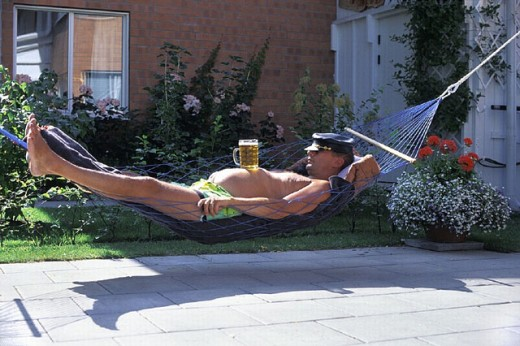 amusing, beer belly, belly, dozing, garden, hammock, home, house, humor, leather cap, Man, outside, recumbent, lie, : Stock Photo