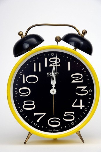 alarm clocks, clock, watch, One after Twelve, time, symbol, studio, inside : Stock Photo