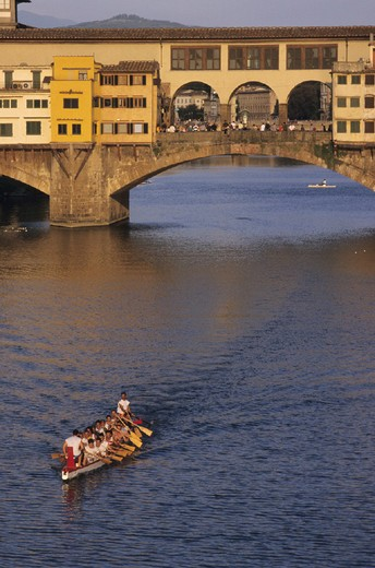Arno river, river, Boat, Florence, Italy, Europe, Rowing, running, Ponte Vecchio, : Stock Photo