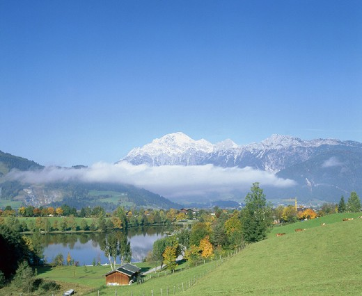 Stock Photo: 1597-132481 10644597, Birnhorn, autumn, scenery, fog patches, Austria, Europe, scratch lake, Salzburg,