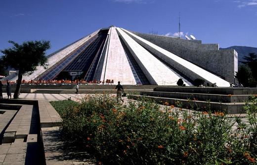 Albania, Tirana, international cultural centre, modern, architecture, pyramid, cafe, park, : Stock Photo
