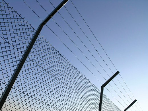 Stock Photo: 1597-133167 wire fence, sting wire, fence, border, sky, symbol