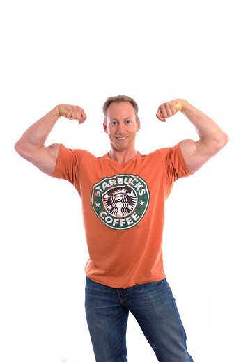 Stock Photo: 1597-134047 Studio shot, release, cut_out, background, white, portrait, man, T_shirt, Starbucks, body building, laughter, puddles, smile, pr