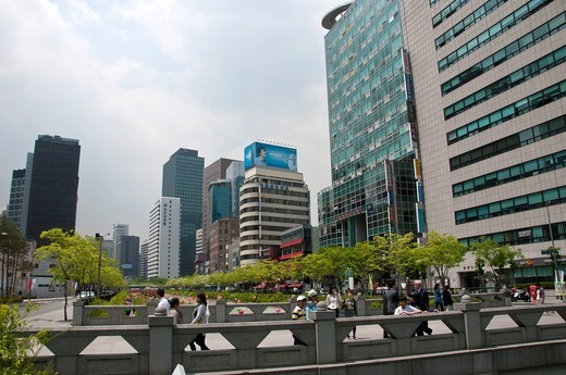 Stock Photo: 1597-134300 downtown Seoul, South Korea, city, buildings, walkway, passengers, Asia