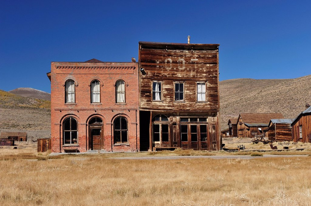 Stock Photo: 1597-135763 Bodie State, historic, Park, near Lee Vining, California, USA, United States, America, historical, field, houses